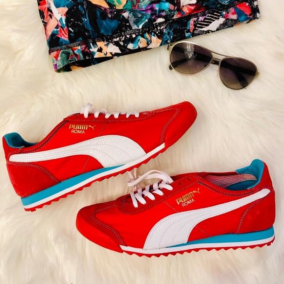 size 40 a3129 bcd08 NEW, Red PUMA Roma Slim Nylon Sneakers, Sz 9 NWT
